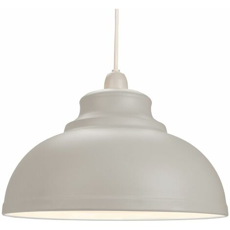 Industrial and Modern Galley Design Dove Grey Metal Ceiling Pendant Light Shade by Happy Homewares