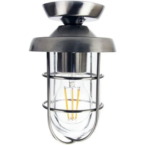 Industrial and Vintage Stainless Steel Outdoor Semi Flush Ceiling Light Fitting by Happy Homewares