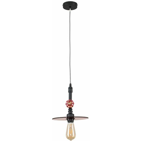 Industrial Antique Brasblack Ceiling Pendant Light + Glass Amber Light Shade