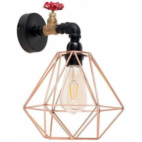 Industrial Antique Brass Matt Black & Red Tap Wall Light + Copper Light Shade - Black