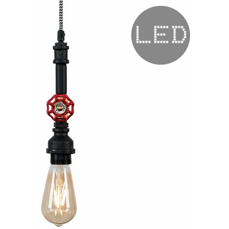 Industrial Antique Brass Satin Black & Red Tap Ceiling Pendant Light Fitting - Add LED Bulb