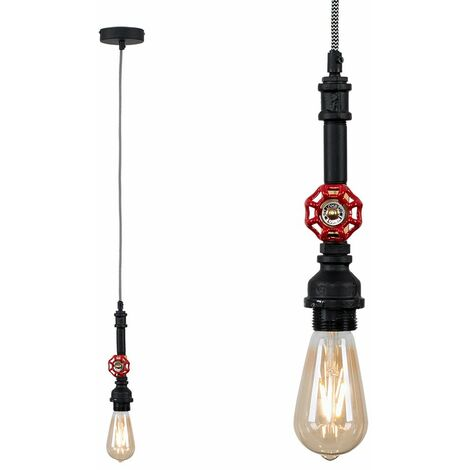 Industrial Antique Brass Satin Black & Red Tap Ceiling Pendant Light Fitting - No Bulb - Black