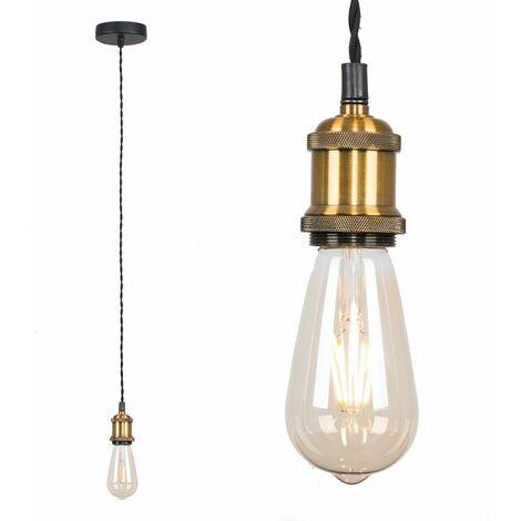 Industrial Antique Brass Suspended Ceiling Pendant Light Fitting