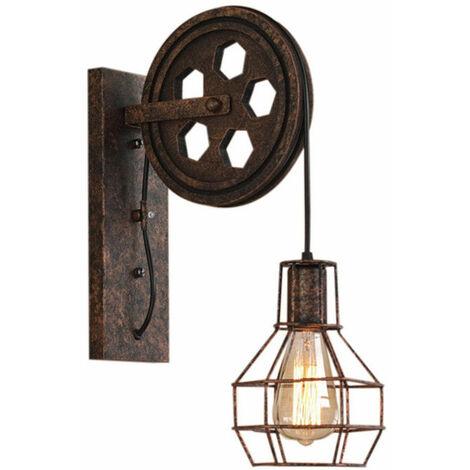 Industrial Aplique de pared Creativa Lámpara de Polea E27 para pasillo Cafe Bar Restaurante Hotel Color óxido
