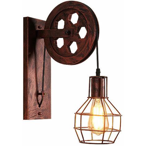 Industrial Aplique de pared Creativa Lámpara de Polea E27 para pasillo Cafe Bar Restaurante Hotel (Rojo)Óxido
