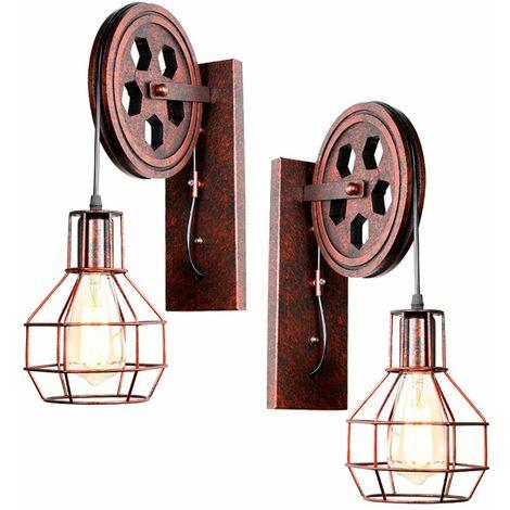 Industrial Aplique de pared Creativa Lámpara de Polea E27 para pasillo Cafe Bar Restaurante Hotel (Rojo)Óxido (sin bombilla)