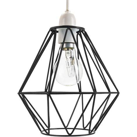Industrial Basket Cage Designed Matt Black Metal Ceiling Pendant Light Shade by Happy Homewares