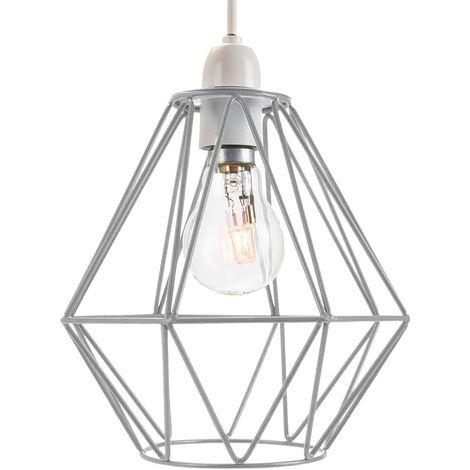 Industrial Basket Cage Designed Matt Grey Metal Ceiling Pendant Light Shade by Happy Homewares