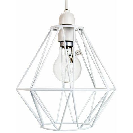 Industrial Basket Cage Designed Matt White Metal Ceiling Pendant Light Shade by Happy Homewares