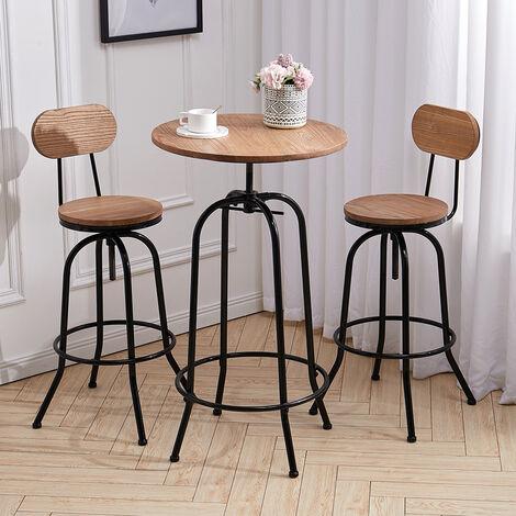Industrial Bistro Kitchen Breakfast Bar Table/Bar Stool Chair Height Adjustable