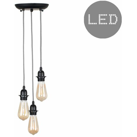 Industrial Black 3 Way Droplet Ceiling Pendant Light + 4W LED Filament Bulbs - Warm White