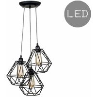 Industrial Black 3 Way Droplet Ceiling Pendant Light + Black Metal Cage Shades + 4w LED Filament Bulbs - 2700K Warm White