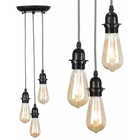 Industrial Black 3 Way Droplet Ceiling Pendant Light Fitting