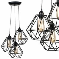 Industrial Black 3 Way Droplet Ceiling Pendant Light Fitting + Black Metal Cage Shades