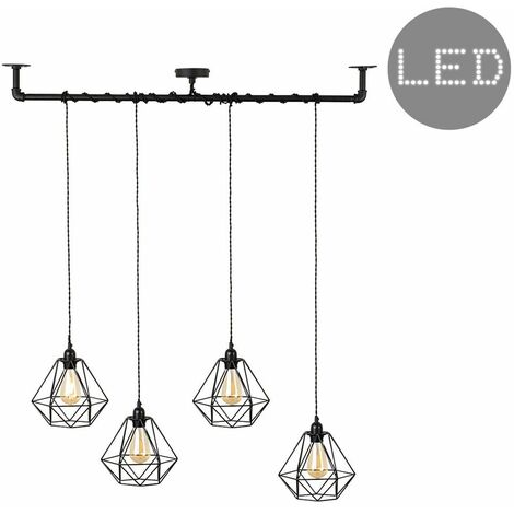 Industrial Black 4 Way Bar Wrap Over Ceiling Light + Black Shades + 4W LED Filament Bulbs - Warm White - Black
