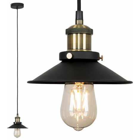 Industrial Black & Antique Brass Ceiling Light Pendant Shade - Add LED Bulb - Gold