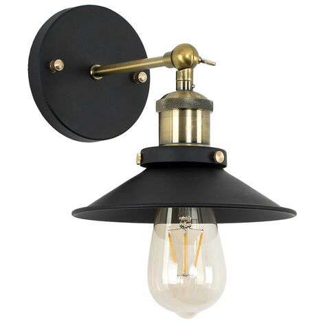 Industrial Black & Antique Brass Wall Light + Shade