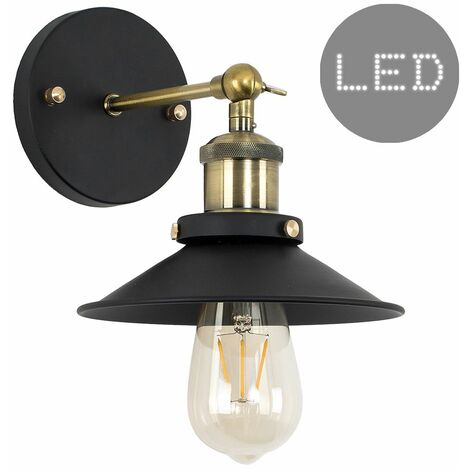 Industrial Black & Brass Wall Light + Shade + 4W LED Filament Bulb - Warm White - Gold