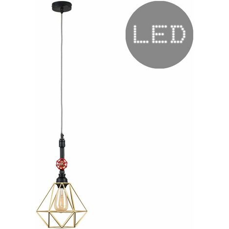 Industrial Black Ceiling Pendant Light 4W LED Filament Bulb - Gold - Black
