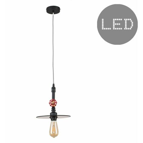 Industrial Black Ceiling Pendant Light + Glass Amber Light Shade + 4W LED Filament Bulb - Warm White - Black