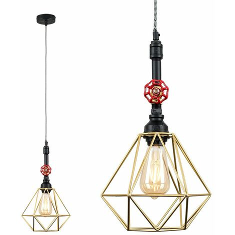 Industrial Black Ceiling Pendant Light - Gold - Black