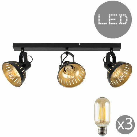 Industrial Black & Gold 3 Way Adjustable Ceiling Spotlight - LED Bulbs - Black