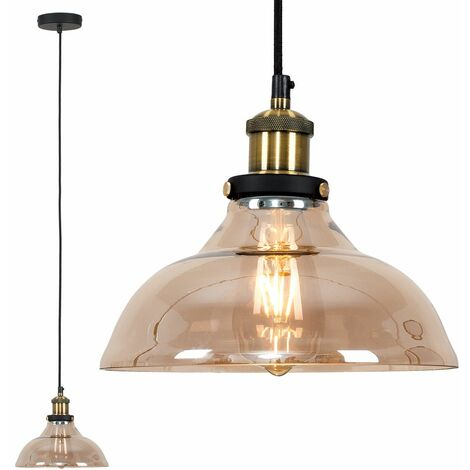 Industrial Black & Gold Ceiling Light Pendant + An Amber Clear Glass Shade - Add LED Bulb - Black