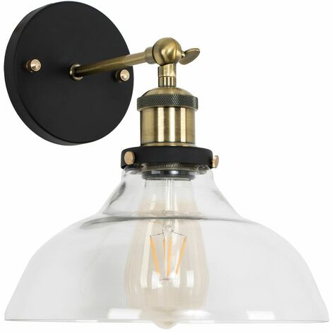 Industrial Black & Gold Wall Light Clear Glass Wide Shade Light Shade - Add LED Bulb