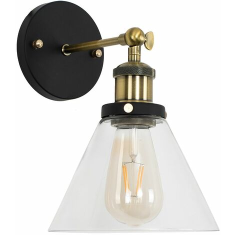 Industrial Black & Gold Wall Light With Clear Glass Conical Light Shade - Add LED Bulb