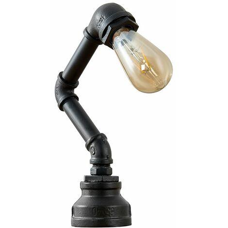 Industrial Black Metal Angled Table Lamp - LED Bulb