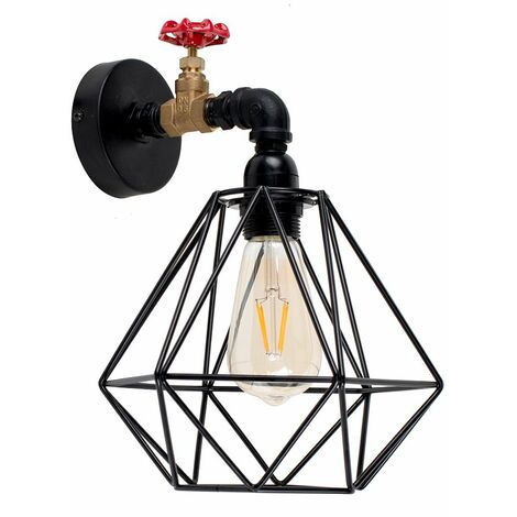 Industrial Black Wall Light + Black Metal Light Shade