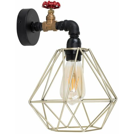 Industrial Black Wall Light + Gold Metal Light Shade