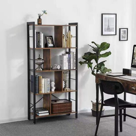 Industrial Bookshelf 5-Tier Wood Bookcase Flowerpots Display Shelf Storage Racks