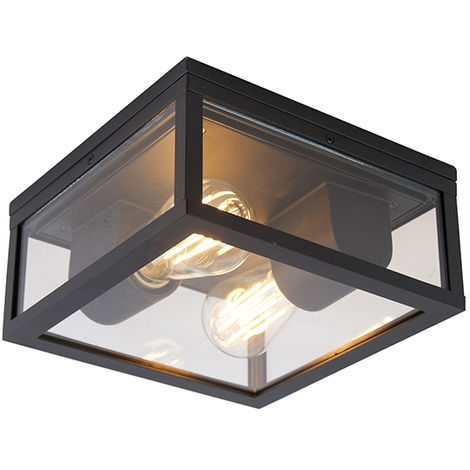 Industrial ceiling lamp black IP44 - Charlois
