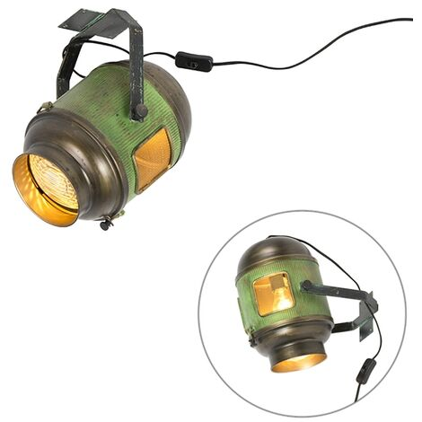 Industrial ceiling lamp bronze with green - Byron