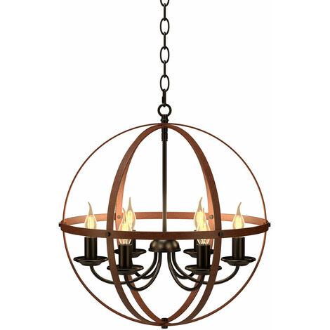 Industrial Ceiling Lamp Chandelier Pendant 6 Light Spherical Shade Home Office
