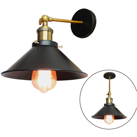 Industrial Ceiling Light 22cm Metal Iron Wall Lamp Black Retro Wall Sconce Vintage Wall Light