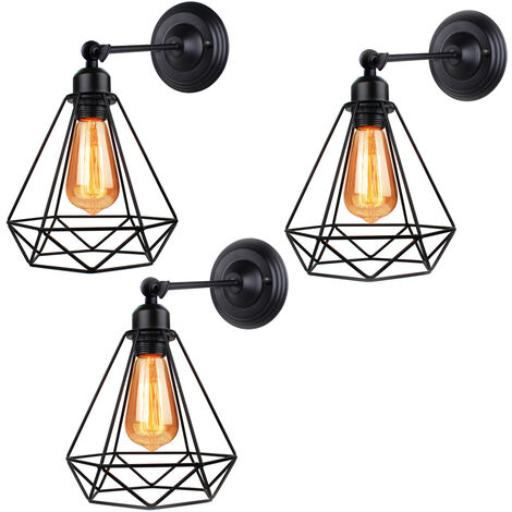 Industrial Ceiling Light Antique Diamond Shape Wall Light Metal Iron 20cm Wall Light for Bedroom Bar Cafe Black 3pcs