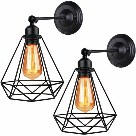 Industrial Ceiling Light Black Antique Diamond Shape Wall Light Metal Iron 20cm Wall Light for Bedroom Bar Cafe 2pcs