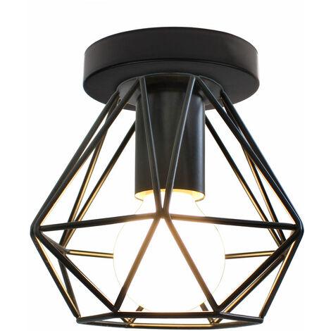 Industrial Ceiling Light Flush Mount Vintage Lamp Fixture Black Cage for Kitchen Living Room