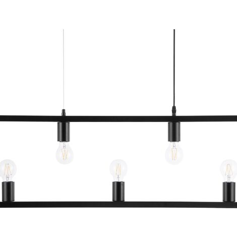 Industrial Ceiling Light Lamp Geometric Multiple Light Bulbs Metal Black Bayas