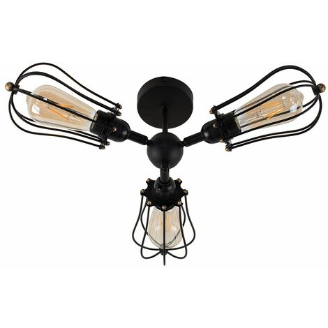 Industrial Ceiling Light Lounge 3 Way Pear Cages