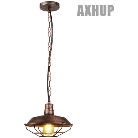 Industrial Ceiling Light Retro Antique Pendant Lamp Vintage Pendant Light Rust 260mm Iron Metal Chandelier for Bedroom Cafe Bar Office E27