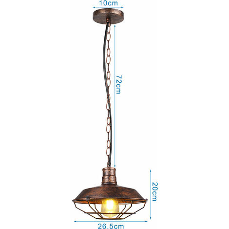 Industrial Ceiling Light Retro Antique Pendant Lamp Vintage Pendant Light Rust Ø260mm Iron Metal Chandelier for Bedroom Cafe Bar Office E27