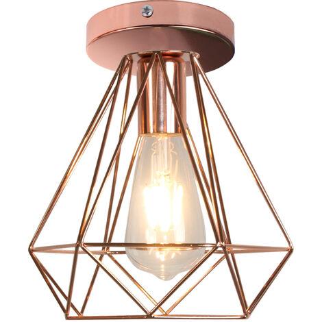 Industrial Ceiling Light Retro Flush Mount Diamond Cage Shade Ceiling Lamp Fixture, Rose Gold