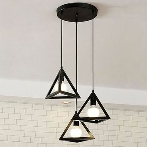Industrial Ceiling Pendant Lights Fitting Chandelier Lampshade Triangle shape black for Home Office Bedroom Living Room Coffee Shop