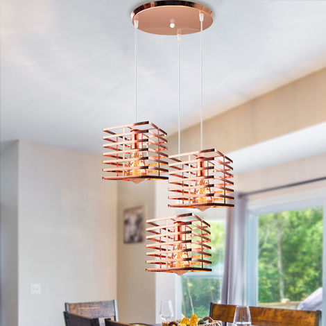 Industrial Chandelier 3 Lights Hanging Light Square Vintage Pendant Light Rustic Metal Ceilling Lamp for Loft Cafe Dining Indoor Decoration Rose Gold