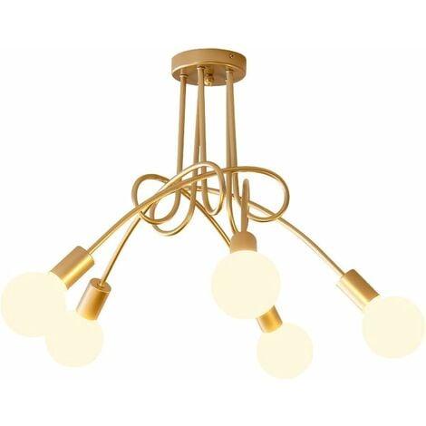 Industrial Chandelier Vintage Ceiling Light Antique 5 Lamp Holders Pendant Light for Living Room Dining Room Bar Hotel Restaurant Gold E27