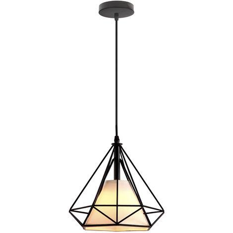 "main image of ""Industrial Chandelier, Vintage Hanging Light Retro Pendant Light Metal Iron Pendant Lamp Diamond Shape Ceiling Light E27 25cm Black"""