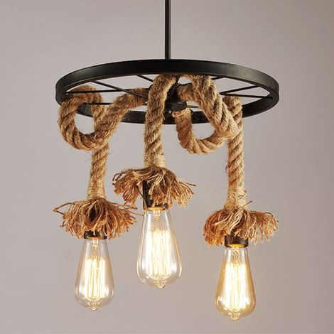 Industrial Chandelier Vintage Hemp Rope Pendant Light Creative Wheel Ceiling Lamp 3 Lights Suspension Light for Living Room Loft Restaurant Bar Decorative Fixture
